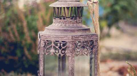 Photo of an old lantern decoration in a baptism christening