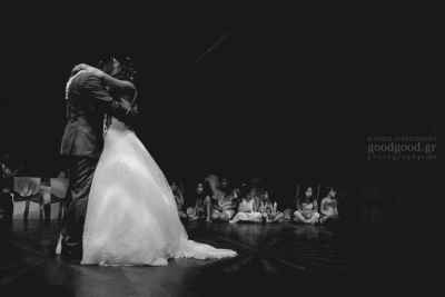 First dance of a couple after a wedding in a dark dancefloor