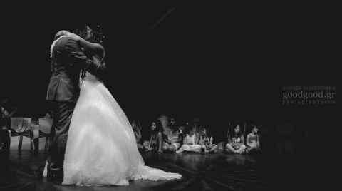 First dance of a couple after a wedding in a dark dancefloor