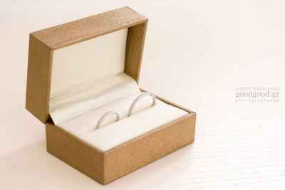 Photograph of wedding rings inside their box