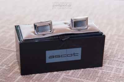 cufflinks on a cushioned box