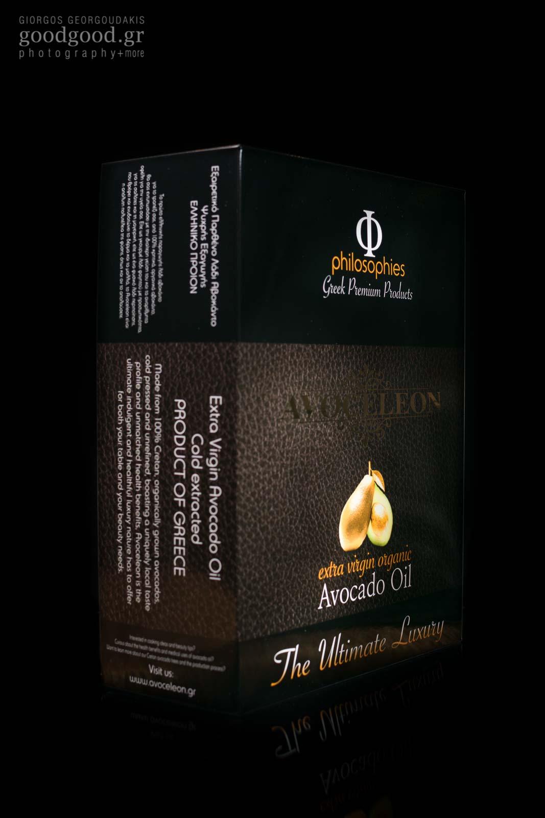 Avoceleon, avocado oil premium package, product photographed in dark background