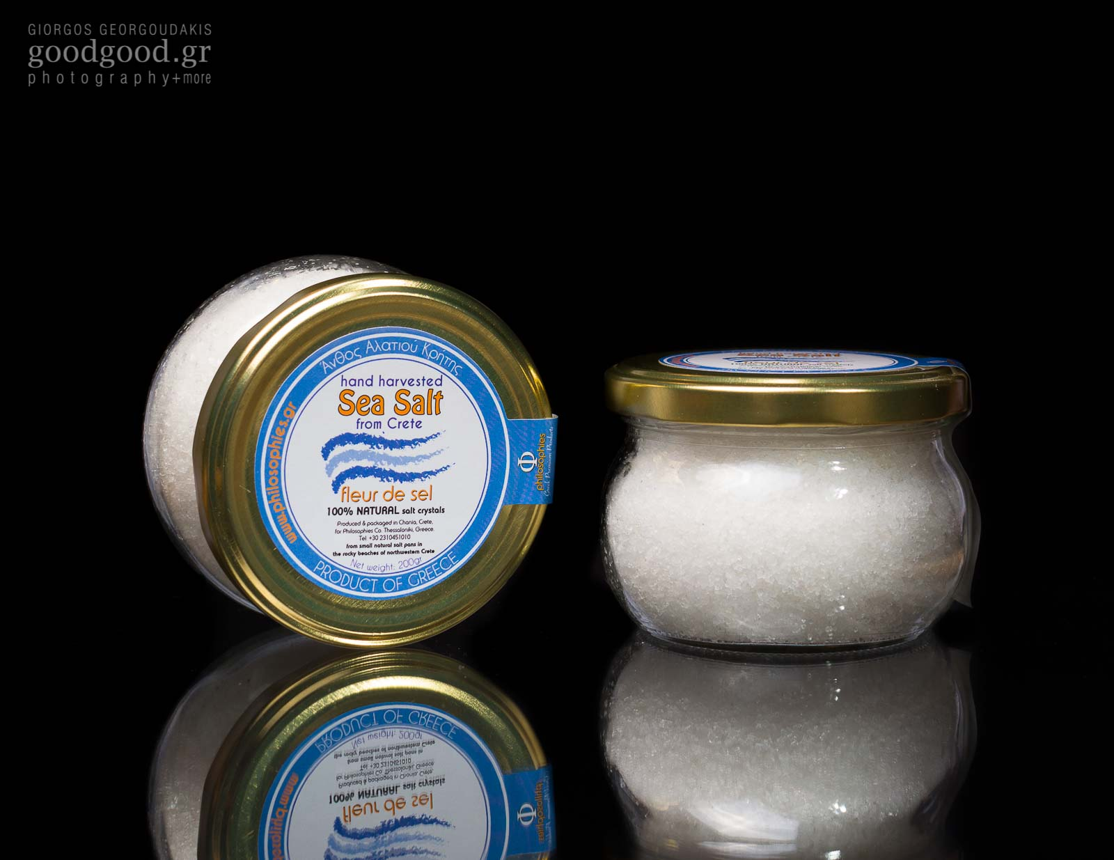 Product photography in dark background. Vases of sea salt (Crete fleur de sel)