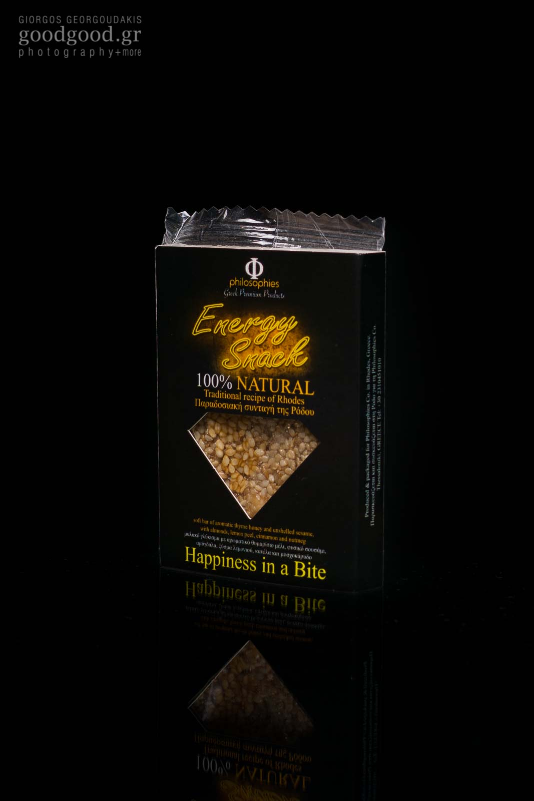 Product photoshoot in dark background of a snack bar made of sesame