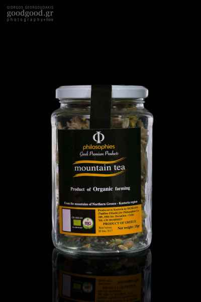 Photograph of a Jar of Mountain Tea in dark background