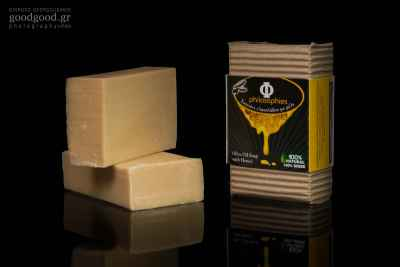 Product photoshoot of bars of soap made of olive oil and honey