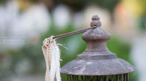 Christening adornment, ribbon hanging of a lantern handle