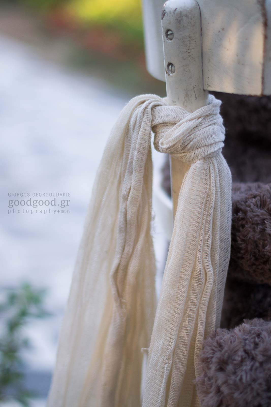Christening titivation, scarf hanging of a chair back