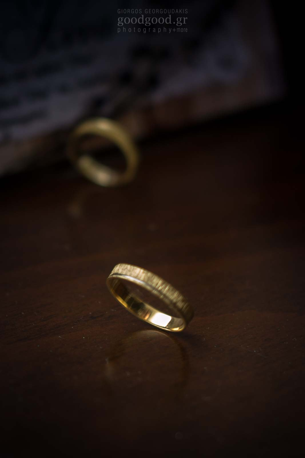 Wedding ring spinning around on a table