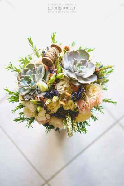 Wedding flower bouquet on tiles