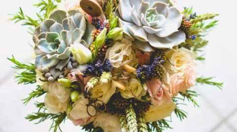 Wedding flower bouquet on tiles