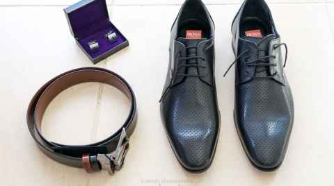 Groom's cufflinks, shoes and belt