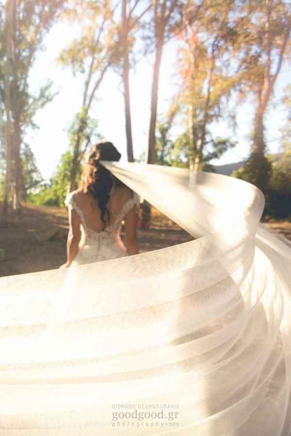 Bride's vail waving in the wind, Next day photoshoot in Chania, Agia lake, Crete