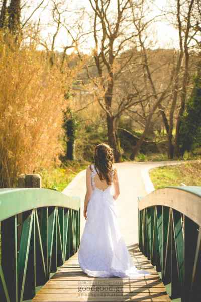 Next Day Wedding Photo-shoot, bride walking on a wooden bridge, Chania, Crete, Greece